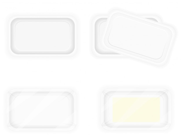 White plastic container packaging for food.