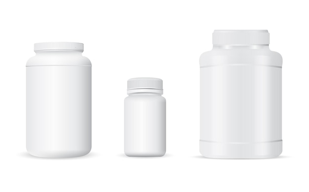White plastic container for whey protein powder