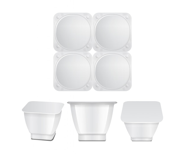 White plastic container with plastic wrap or foil cover. for dairy products, yogurt, cream, dessert, jam.  square pack. front, top, side view