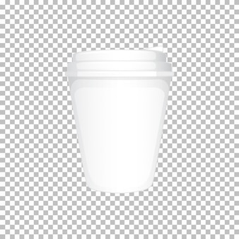White plastic cup with lid