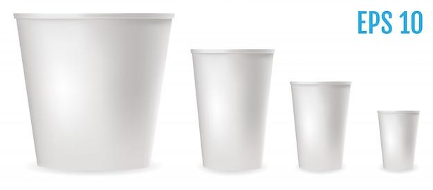 食品用の白いプラスチック製コップ