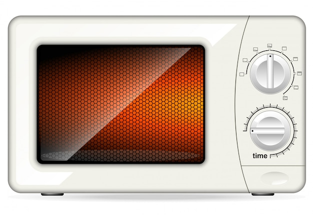 White plastic microwave oven. mechanical control. closed door