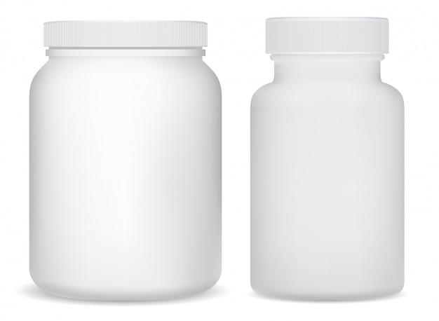 White plastic supplement bottles. sport jar