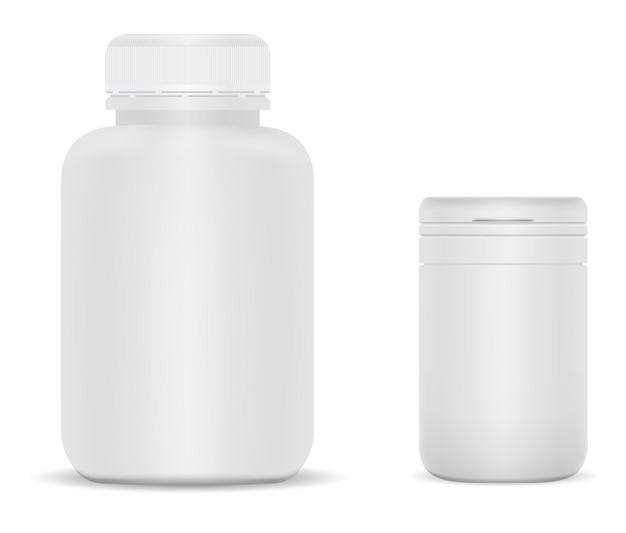 白いプラスチック製のサプリメントジャー。ビタミンボトルブランク、シリンダーパッケージ。大きな医薬品ピルパック。丸い錠剤チューブ、空のマットなプラスチック缶、現実的なアスピリン薬の包装