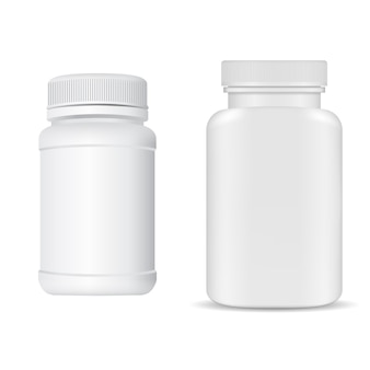 흰색 플라스틱 비타민 알약 항아리. 병 빈, 모자와 함께 3d 패키지를 보충하십시오.