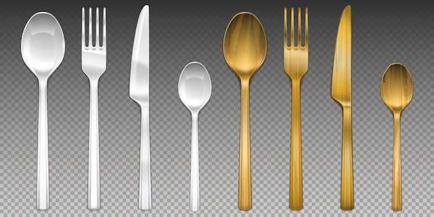 White plastic and wooden cutlery on transparent.