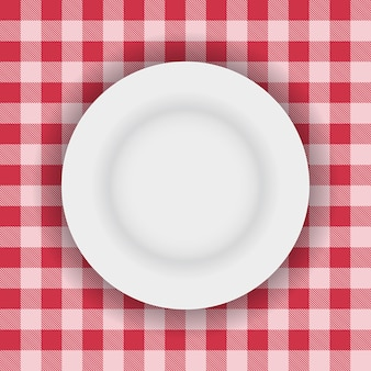 White plate on a picnic table cloth