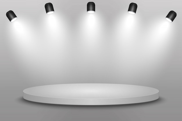 White platform, podium or pedestal with spotlights.