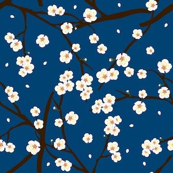 White plum blossom flower on indigo blue background
