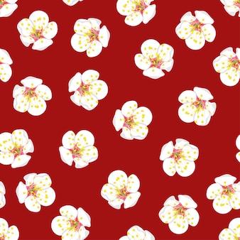 White Plum Blossom Flower Seamless on Red Background.