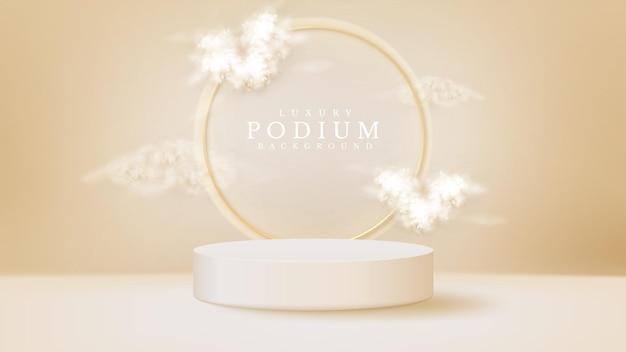 白い表彰台のディスプレイ製品とキラキラの金色の円の線要素、現実的な3d高級スタイルの背景、販売とマーケティングを促進するためのベクトルイラストとハート形の雲。