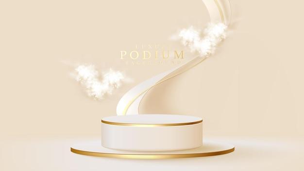 白い表彰台のディスプレイ製品とスパークルゴールドライン要素、リアルな3dラグジュアリースタイルの背景、販売とマーケティングを促進するためのベクトルイラストとハート形の雲。