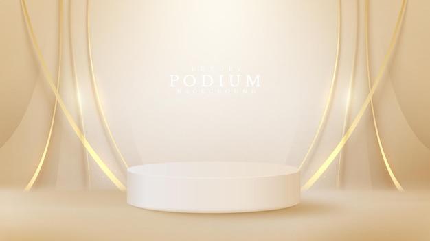 흰색 연단 디스플레이 제품 및 반짝이는 황금 곡선 요소, 현실적인 3d 고급 스타일 배경, 판매 및 마케팅 홍보를 위한 벡터 그림.