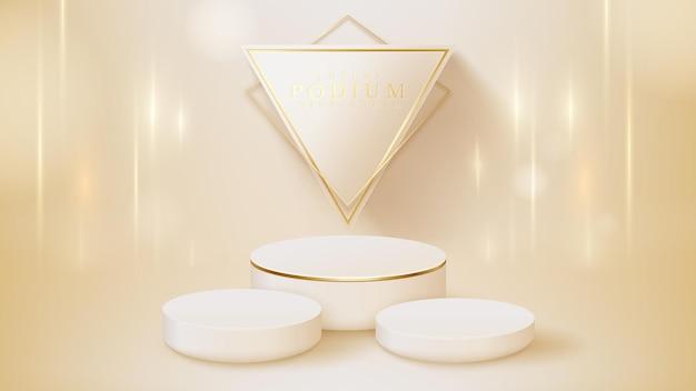白い表彰台のディスプレイ製品と輝く金色のラインシーン、リアルな3dラグジュアリースタイルの背景、販売とマーケティングを促進するためのベクトルイラスト。