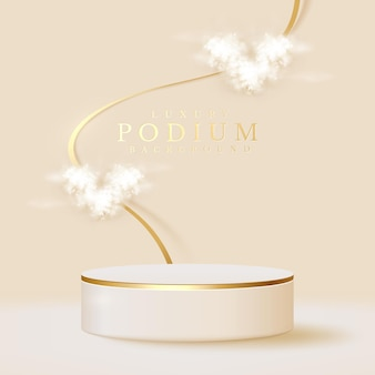White podium display product and heart shape cloud with sparkle gold lines element, realistic 3d luxury style background, vector illustration for promoting sales and marketing.