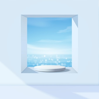 White podium display for product presentation, summer beach with blue sea