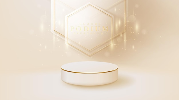 White podium display product and sparkle golden line scene, realistic 3d luxury style background, vector illustration for promoting sales and marketing.