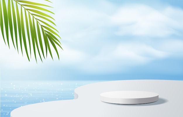 Белый подиум с пальмой для презентации продукта, летний пляж с синим морем Premium векторы