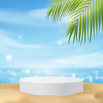White podium display with palm tree for product presentation, summer beach with blue sea