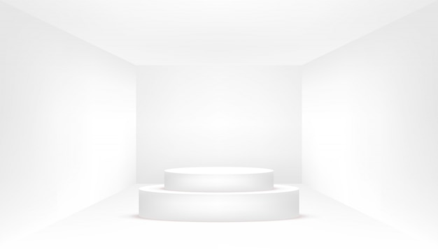 White podium in an empty white room. empty white room.
