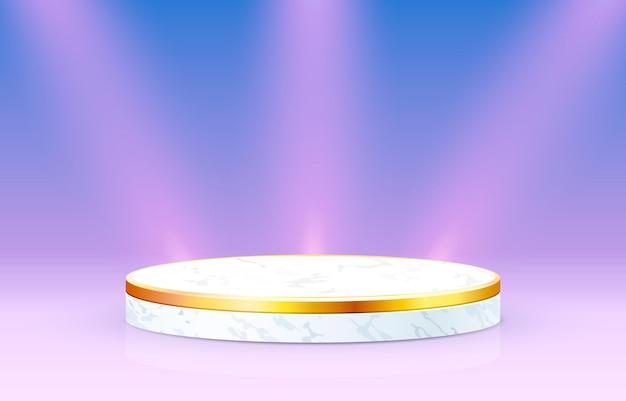 White podium on gradient background