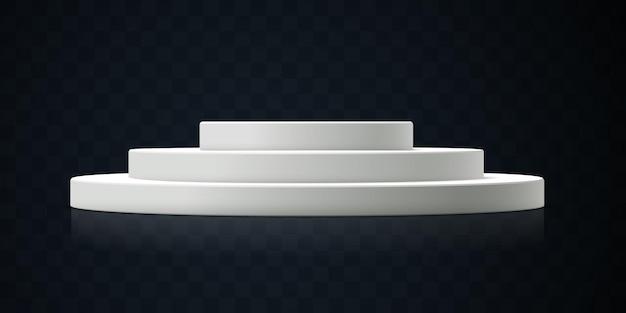 暗い透明な背景に分離された白い表彰台