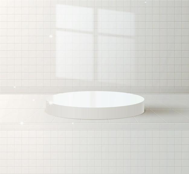 세라믹 타일 벽 배경에 흰색 연단