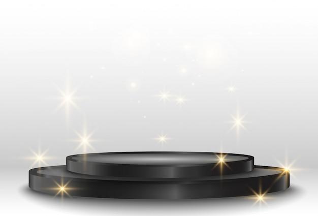 スポットライト付きの白い演壇またはプラットフォーム。受賞者に報酬を与えるための台座。