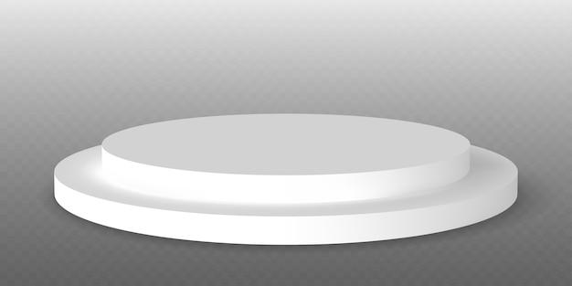 White podium. pedestal platform or showroom stand. white studio stage platform