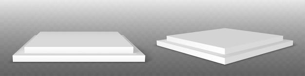 White podium. pedestal platform or showroom stand. white studio stage platform.