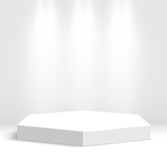 白い表彰台。ペデスタル。シーン。図。