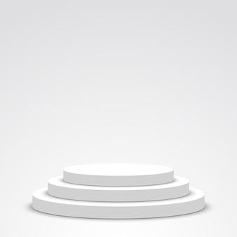 白い表彰台。ペデスタル。シーン。