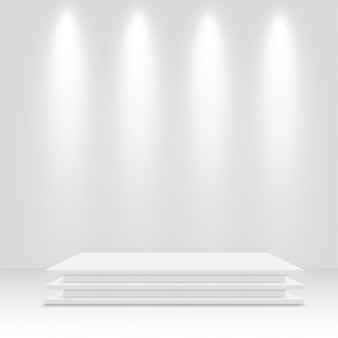 White podium. pedestal. vector illustration.