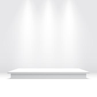 白い表彰台。ペデスタル。
