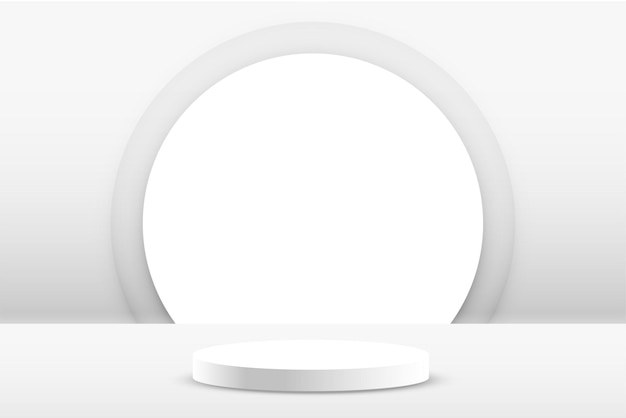 白い表彰台の製品は空の背景を表示します