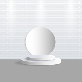 Сцена демонстрации продукта на белом подиуме