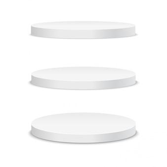 Белый подиум. круглый 3d пустой подиум с шагами.