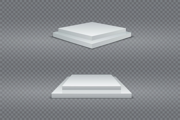 White podium set. 3d square two-stage pedestals winner. realistic light. advertising product