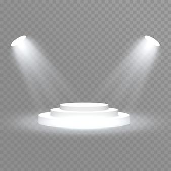 흰색 연단. 스포트라이트. 조명 효과 광선 격리 된 흰색 투명 조명 효과입니다. 특수 효과 요소의 추상 디자인.
