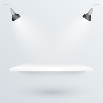 White podium and spotlights to place product illustration