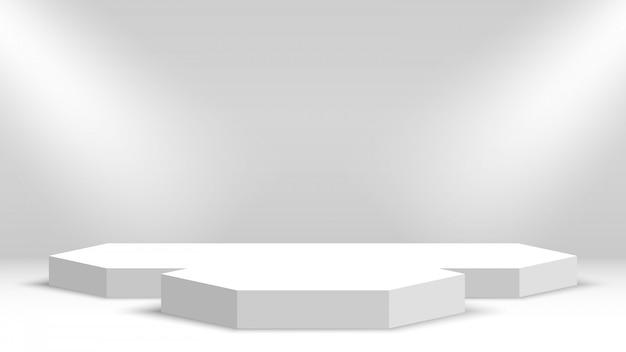 白い表彰台。授賞式のステージ。ペデスタル。図。