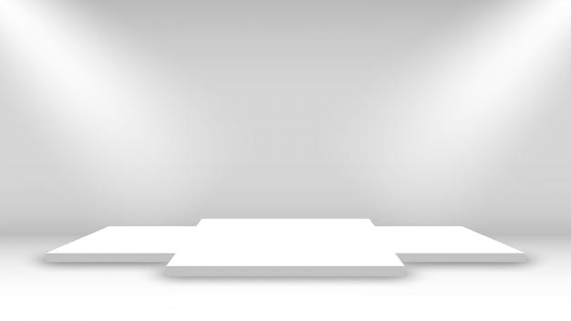 白い表彰台。授賞式のステージ。ペデスタル。 Premiumベクター