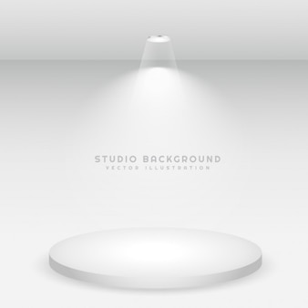 White podium studio background
