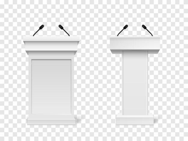 White podium tribune rostrum stand with microphones isolated