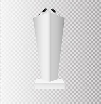 흰색 연단 트리뷴 연단은 투명한 배경에 마이크가 있는 스탠드