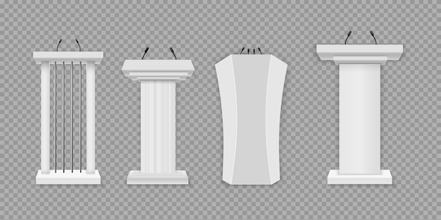 White podium, tribune with microphones. creative illustration of a podium tribune with microphones on a transparent background. business presentation or conference speech realistic 3d stands.