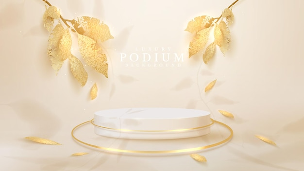 White podium with golden leaves with falling shadows, 3d style realistic luxury background, empty space to place products or text for advertising. vector illustration.