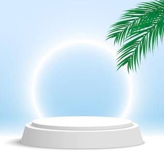 White podium with palm leaves and glowing ring round pedestal cosmetic products display platform