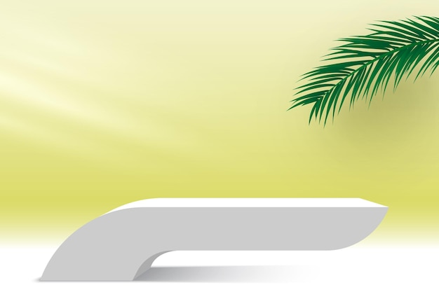 White podium with palm leaves and light pedestal cosmetic products display platform