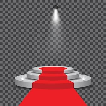 Белый подиум с красной ковровой дорожкой и прожекторами
